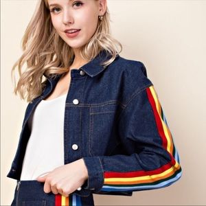 Honey Punch Cropped Denim Rainbow Sleeve Jacket